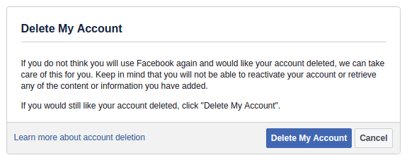 FB account deletion